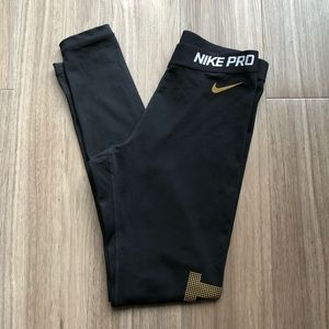 Women's Black Nike Pro Leggings Gold Writing